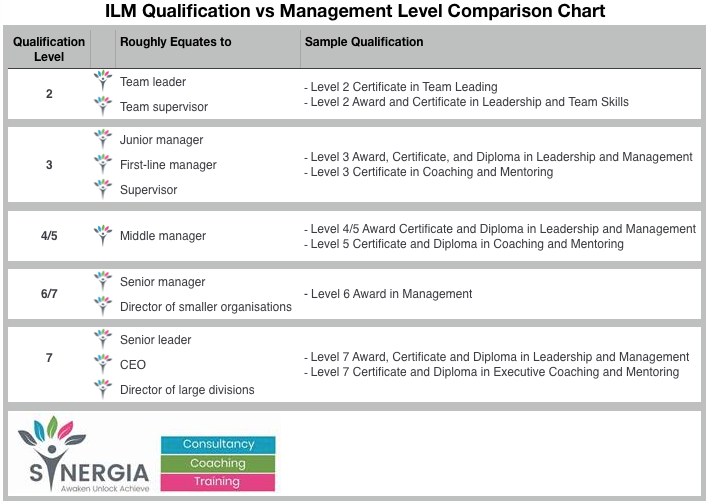 Synergia Coaching ILM Levels vs Manager Comparison Chart